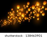 Mass group of flying wishes ...