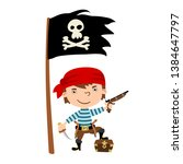 funny pirate in cartoon style...   Shutterstock .eps vector #1384647797