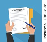 contract signing. flat style.... | Shutterstock .eps vector #1384654004