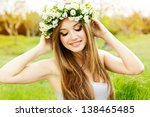 Beautiful Girl In Wreath Of...