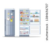 opened and closed fridge or... | Shutterstock . vector #1384656707