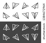 paper plane thin line icon set... | Shutterstock .eps vector #1384672964