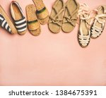 Stock photo variety of trendy woman s summer shoes flat lay of espadrilles sandals flip flops made of 1384675391