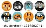 set of 8 halloween party round... | Shutterstock .eps vector #1384682741