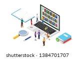 isometric 3d online reading... | Shutterstock .eps vector #1384701707