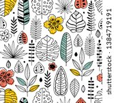 tropical leaves fabric seamless ... | Shutterstock .eps vector #1384719191