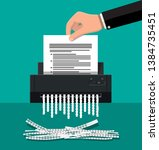 shredder machine and hand with... | Shutterstock . vector #1384735451