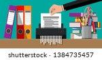 hand putting document paper in... | Shutterstock . vector #1384735457