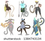 cats on vacation. cute animal... | Shutterstock .eps vector #1384743134