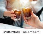 close up of friends clinking... | Shutterstock . vector #1384746374
