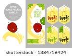 cartoon red apple on juice... | Shutterstock .eps vector #1384756424