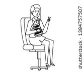 elegant businesswoman sitting...   Shutterstock .eps vector #1384757507