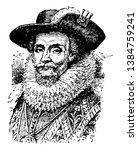 James I, 1566-1625, he was the king of Scotland, vintage line drawing or engraving illustration