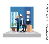 business couple in the office... | Shutterstock .eps vector #1384776617