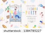 pajama party  vector poster ... | Shutterstock .eps vector #1384785227