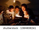 three children  toddler girl... | Shutterstock . vector #1384808261