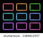 colorful neon square signs set. ... | Shutterstock .eps vector #1384812557