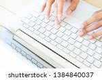 woman's hands using laptop...   Shutterstock . vector #1384840037