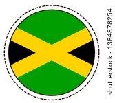 jamaica flag sticker on white...   Shutterstock .eps vector #1384878254