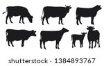 set of cows. black silhouette... | Shutterstock .eps vector #1384893767