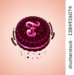 vector brown cookie and pink...   Shutterstock .eps vector #1384926074