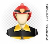 human template firefighter with ... | Shutterstock .eps vector #1384940051