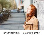 stylish young woman relaxing in ... | Shutterstock . vector #1384961954