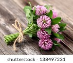 Red Clover On A Wooden...