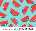 watermelon pattern  summer ... | Shutterstock .eps vector #1384979744