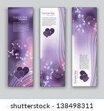 vector banners with hearts. set ...
