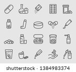line icons set for pill | Shutterstock .eps vector #1384983374