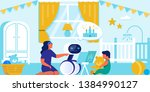 happy child and mom playing... | Shutterstock .eps vector #1384990127