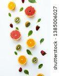 different fruits on white... | Shutterstock . vector #1385006027