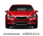 Stock photo red compact car front view closeup shot d illustration 1385012111