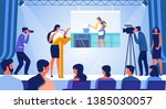 young woman stand on stage with ... | Shutterstock .eps vector #1385030057
