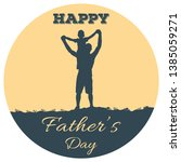 silhouette of father and son on ... | Shutterstock .eps vector #1385059271