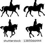 Riding Horses Silhouettes Set   ...