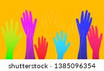 colorful raised hands on orange ... | Shutterstock .eps vector #1385096354