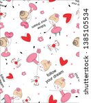 seamless pattern pink with cute ... | Shutterstock .eps vector #1385105534