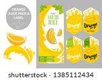 cartoon orange on juice splash. ...   Shutterstock .eps vector #1385112434