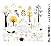 autumn forest flat hand drawn... | Shutterstock .eps vector #1385140904