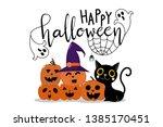 halloween party invitation card ... | Shutterstock .eps vector #1385170451