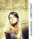 young sexy woman or girl bride... | Shutterstock . vector #1385175647