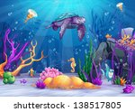 Illustration of the underwater world with a funny fish and turtle. - stock vector