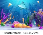 Illustration of the underwater world with a funny fish and fish ramp - stock vector