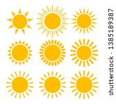 sun icon set. isolated vector...