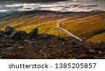 Raw norwegian landscape before sunset. Keep calm and rest. - stock photo