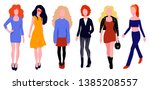 woman character in dress set.... | Shutterstock .eps vector #1385208557