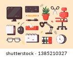 workplace supplies set vector... | Shutterstock .eps vector #1385210327