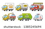 bakery delivery van truck  fuel ... | Shutterstock .eps vector #1385245694